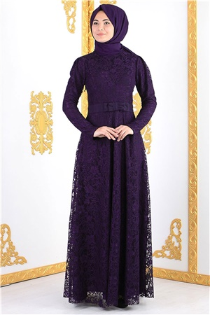 Dress - Lace - Full Lined - High Collar - Purple - FHM396