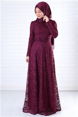 Dress - Lace - Full Lined - High Collar - Plum - FHM396