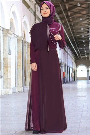 Jumpsuit - Lcyra - Chiffon - Unlined - Zero Collar - Plum - FHM448