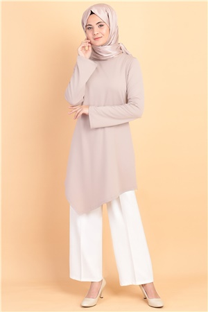 Tunic - Poly Cotton - Unlined - Crew Neck - Mink - FHM474