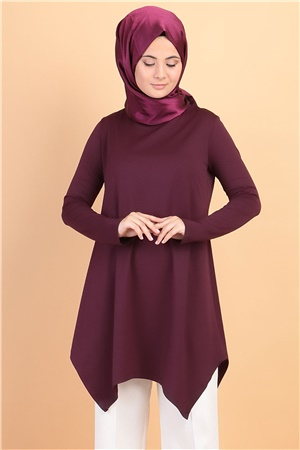 Tunic - Poly Cotton - Unlined - Crew Neck - Plum - FHM482