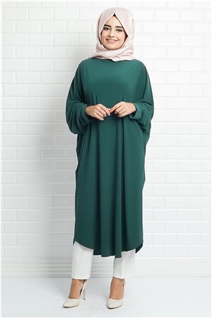 Tunic - Crepe - Unlined - Crew Neck - Emerald Green - FHM514