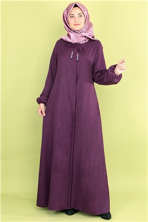 Abaya - Crepe - Unlined - Crew Neck - Plum - FHM516