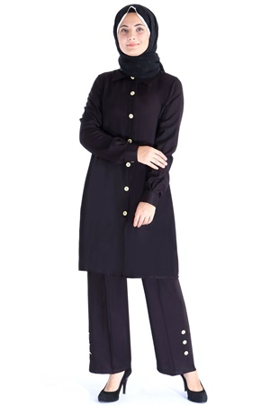 Tunic - Pants - 2 Piece Suit - Crepe - Unlined - Crew Neck - Black - FHM615
