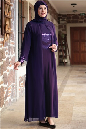 Dress - Lycra - Unlined - Crew Neck - Purple - FHM640