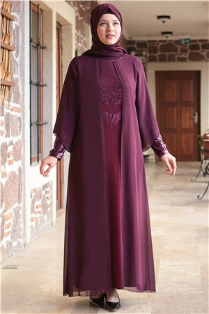 Dress - Lycra - Unlined - Crew Neck - Plum - FHM640