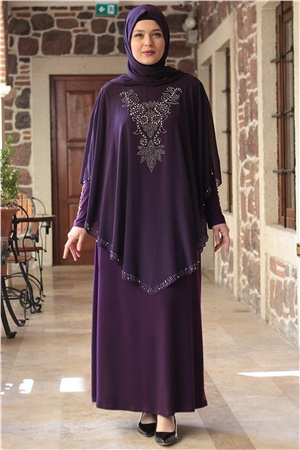 Evening Dress - Lycra - Unlined - Crew Neck - Purple - FHM642