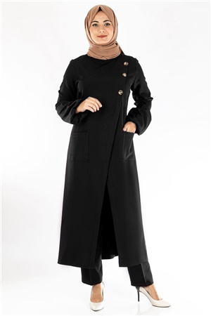 Tunic - Trousers - 2 Piece Suit - Crepe - Unlined - Crew Neck - Black - FHM728