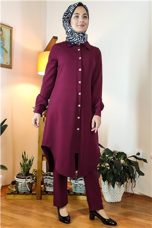 Double Trousers Tunic Suit With Buttons Plum FHM738