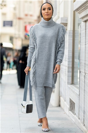 Tunic - Pants - Knitwear - Unlined - Crew Neck - Grey - GK03