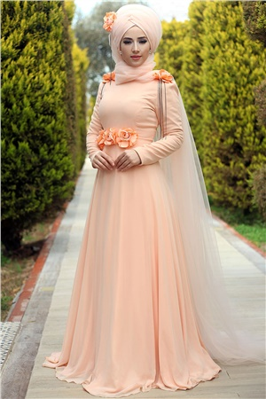 Evening Dress - Chiffon - Full Lined - High Collar - Salmon - LFZ214
