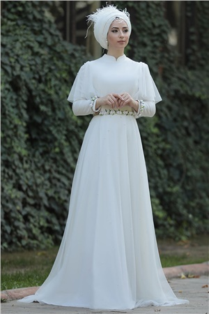 Wedding Dress - Satin - Full Lined - High Collar - Ecru - LFZ242