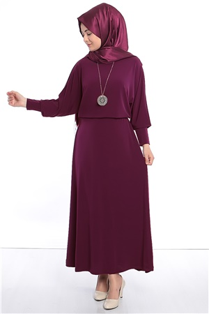 Dress - Lycra - Unlined - Crew Neck - Plum - FHM405