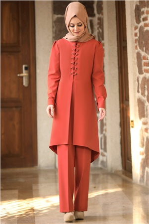 Tunic - Pants - 2 Piece Suit - Crepe - Unlined - High Collar - Brick - AHN01