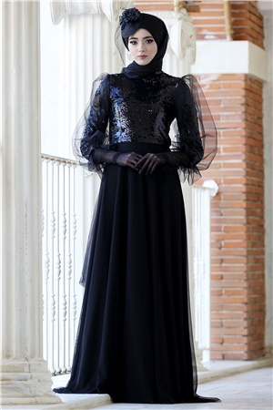 Evening Dress - Tulle - Sequins - Full Lined - High Collar - Black - NBK123
