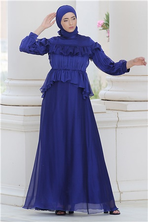 Evening Dress - Tulle - Sequins - Full Lined - High Collar - Royal Blue - NBK140