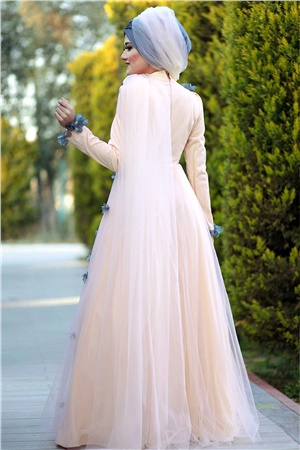 Evening Dress - Tulle - Full Lined - High Collar - Salmon - LFZ224LFZ224-SOMONKategorisiz