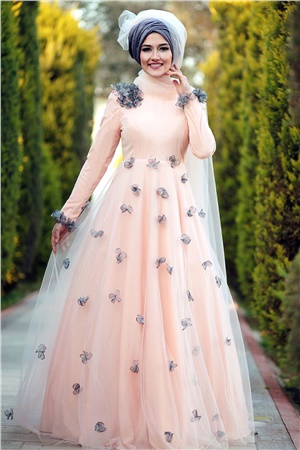 Evening Dress - Tulle - Full Lined - High Collar - Salmon - LFZ224