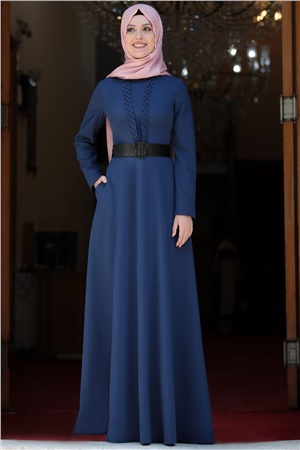 Dress - Crepe - Unlined - High Collar - Royal Blue - SD20