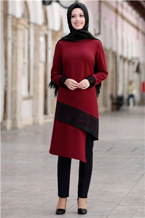 Tunic - Pants - 2 Piece Suit - Crepe - Unlined - Crew Neck - Claret Red - SD35