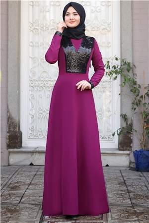 Evening Dress - Crepe  - Unlined - High Collar - Fuchsia - SMY10