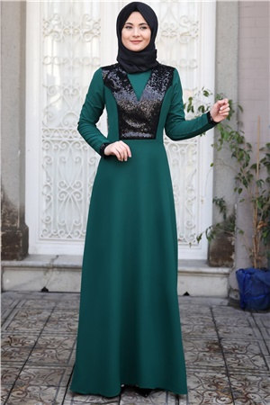 Evening Dress - Crepe  - Unlined - High Collar - Emerald - SMY10