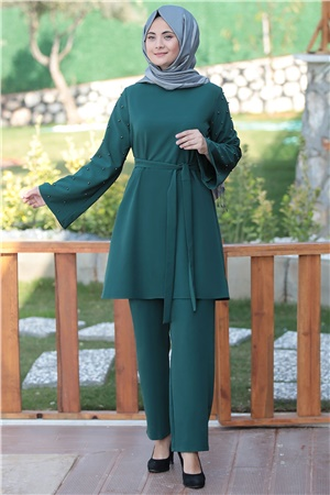 Pants - Tunic - 2 Piece Suit  - Crepe - Unlined - Crew Neck - Green - SMY114