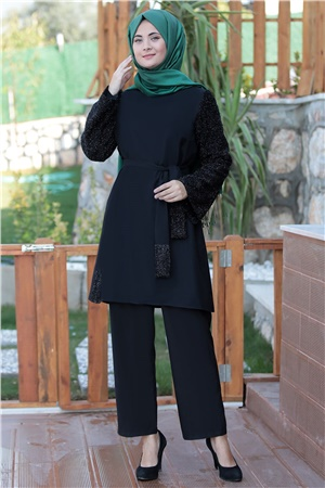 Pants - Tunic - Crepe - Unlined - Crew Neck - Black - SMY120
