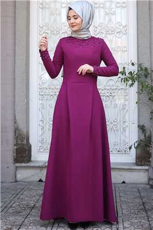 Evening Dress - Crepe - Pearl - Unlined - High Collar - Fuchsia - SMY16