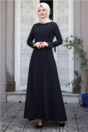 Evening Dress - Crepe - Pearl - Unlined - High Collar - Black - SMY16