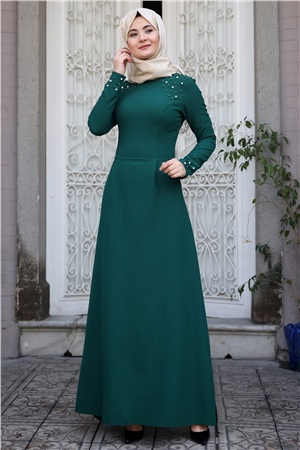 Evening Dress - Crepe - Pearl - Unlined - High Collar - Emerald - SMY16