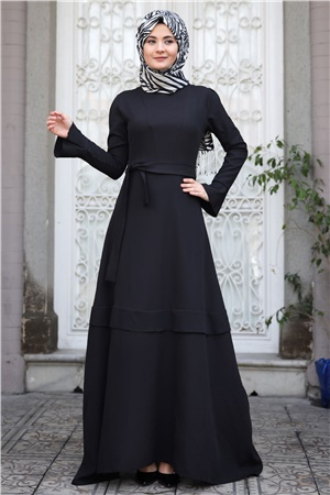Evening Dress - Crepe - Unlined - High Collar - Black - SMY18