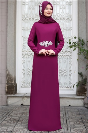 Evening Dress - Crepe - Unlined - High Collar - Fuchsia - SMY24
