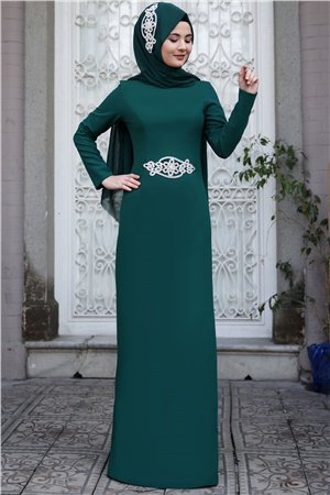 Evening Dress - Crepe - Unlined - High Collar - Emerald - SMY24