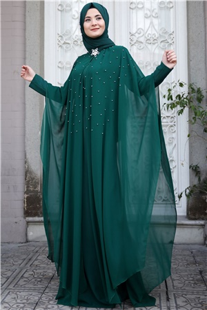 Evening Dress - Crepe - Chiffon - Pearl - Unlined - High Collar - Emerald - SMY26