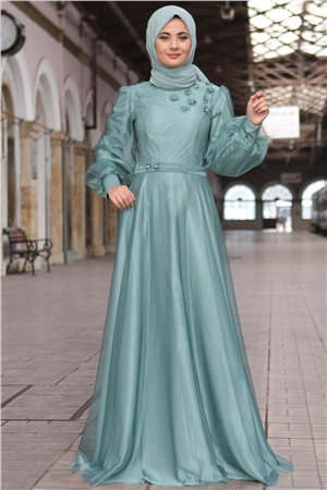Evening Dress - Chiffon - Full Lined - High Collar - Mint - SMY400