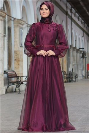 Evening Dress - Chiffon - Full Lined - High Collar - Plum - SMY400