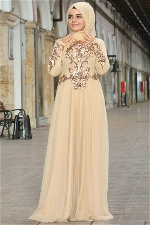 Evening Dress - Chiffon - Full Lined - High Collar - Gold - SMY402