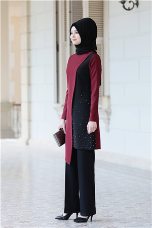 Tunic - Pants - 2 Piece Suit - Crepe - Unlined - Crew Neck - Claret Red - SN31