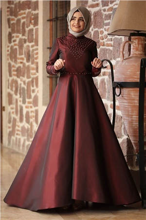 Evening Dress - Taffeta - Full Lined - High Collar - Claret Red - SMY66