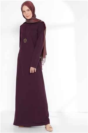 Dress - Unlined - Crew Neck - Dark Purple - TN258 - 4674004