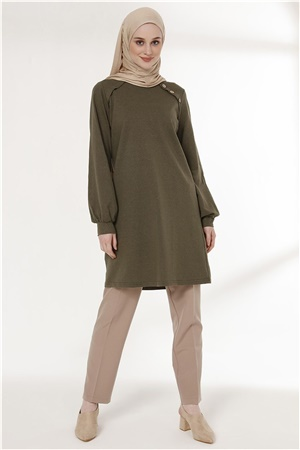 Tunic - Button - Khaki - TN266 - 5424002