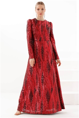 Dress - Sequin - Crew Neck - Claret Red - TN328