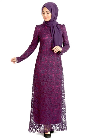 Dress - Lace - Full Lined - High Collar - Plum - Purple - TN33 - 3424009