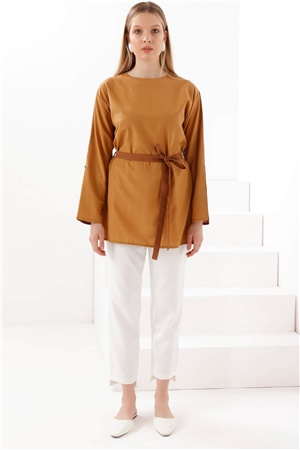 Two - Color - Tunic - Camel - Coffee - TN340