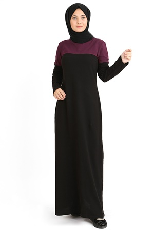 Dress - Oxfort Fabric - Unlined - Crew Neck - Black/Plum - TN48 - 4684005