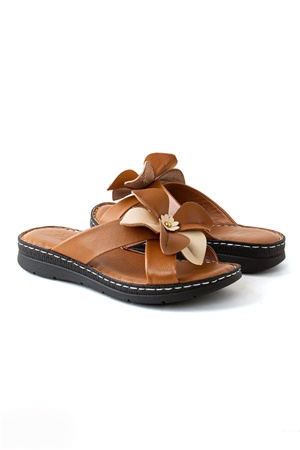 Genuine Leather Slippers Orthopedic Tan Color ZND054