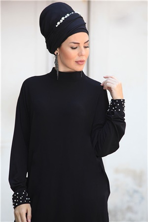 Tunic - Crepe - Lined - Crew Neck - Black - ZNP03