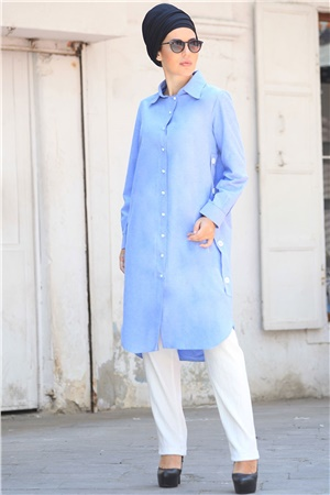 Tunic - Crepe - Lined - Crew Neck - Blue - ZNP04