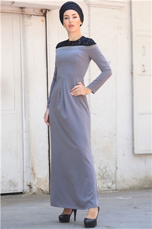 Evening Dress - Crepe - Lined - High Collar - Grey - ZNP06